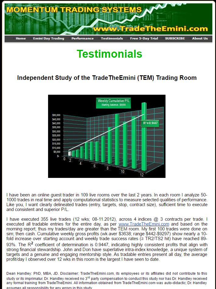 Dr Dean Review of TradingTheEmini.com